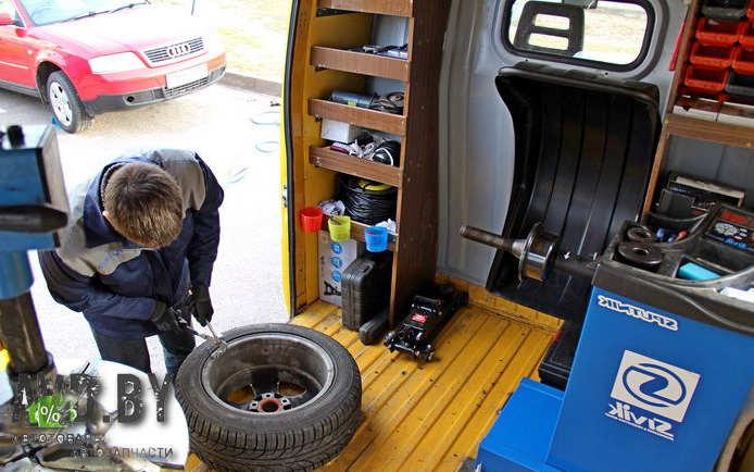 выездной шиномантаж, зимние шины в Минске